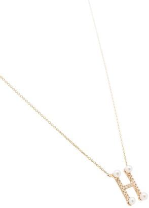 Dana Rebecca Designs 14kt yellow gold H diamond pearl necklace
