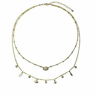 Jules Smith Designs Layered Inner Goddess Charm Necklace with Opal Hamsa