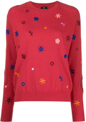 Paul Smith floral embroidered round neck sweater