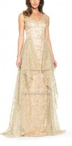 David Meister Embroidered V Neck Ball Gown with Pleated Mesh Train