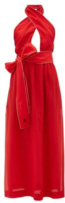 Fendi Crossover Halterneck Silk Maxi Dress - Red