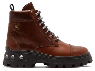 Miu Miu Crystal Heel Lace Up Leather Boots - Womens - Tan