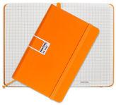 Pantone NEW Flame Orange Pocket Grid Elastic Band Notebook