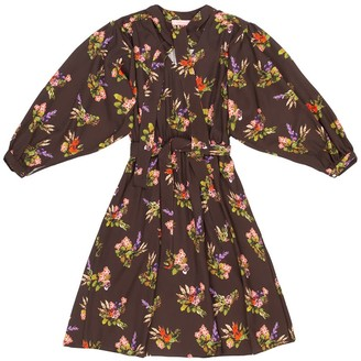 Tomcsanyi Marta Lame Flower Print Tie Dress