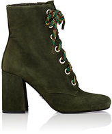 Prada Women's Lace-Up Suede Ankle Boots-GREEN
