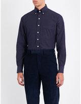 Drakes Mens Navy Round Luxury Pindot Regular-Fit Cotton Shirt