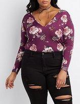 Charlotte Russe Plus Size Floral V-Neck Bodysuit