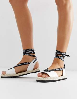 Juicy Couture leather tie ankle flat sandals-White