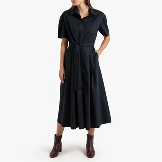 La Redoute Collections Cotton Flared Midaxi Shirt Dress with Short Sleeves