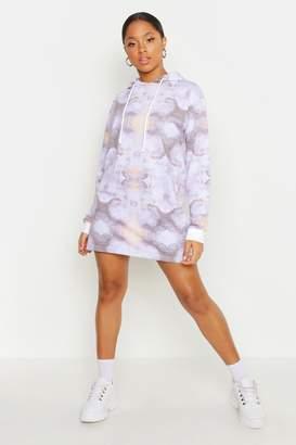 boohoo Tie Dye Hooded Mini Dress