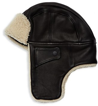 UGG Shearling-Trim Leather Trapper Hat