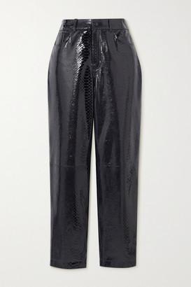 REMAIN Birger Christensen Elsa Cropped Snake-effect Patent-leather Straight-leg Pants
