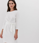 Asos DESIGN Tall tie wrap around mini dress in linen