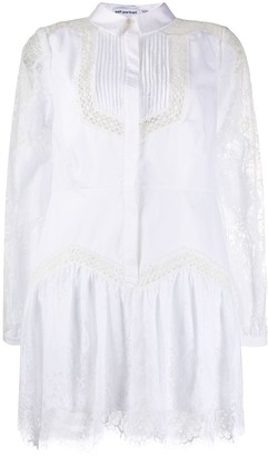 Self-Portrait Lace Panel Shirt Dress