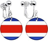 Body Candy Costa Rica Flag Clip on Earrings