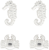 Accessorize Sterling Silver 2x Seahorse & Crab Stud Earrings Set