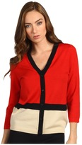 Kate Spade Thandie Cardigan (Lacquer Red/Black/Pale Fallow) - Apparel