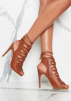Missy Empire Ophelia Brown Leather Laser Cut Lace Up Heels