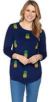 C. Wonder Pineapple Instarsia 3/4 Sleeve Sweater