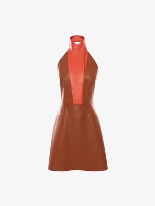 Alexander McQueen Halterneck Leather Mini Dress