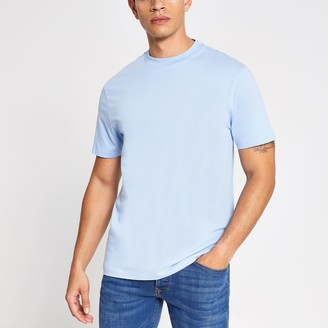 River Island Mens Blue regular fit short sleeve T-shirt