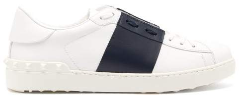 Open Leather Trainers   Mens   White Navy by Valentino