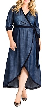 Standards & Practices Elle Chambray Denim Wrap Dress