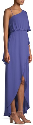 BCBGMAXAZRIA Draped One-Shoulder High-Low Dress