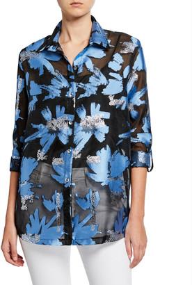 Berek Foilicious Floral Metallic Button-Down Long-Sleeve Easy Shirt