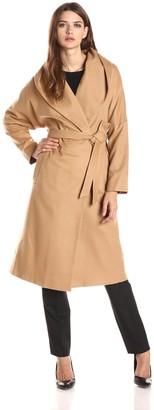 Helene Berman Women's Shawl Collar Long Wrap Coat with Self-Belt