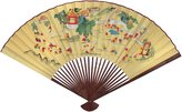Oriental Furniture Discontinued, 42-Inch Japanese Tan Hand Painted Decorative Wall Fan, Children No.7
