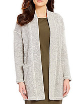 Eileen Fisher Shawl Collar Long Sleeve Open Front Kimono Cardigan