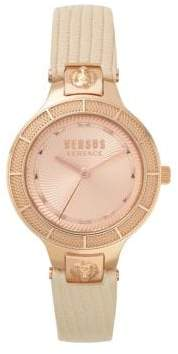 Versace Claremont Stainless Steel Leather-Strap Watch
