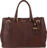 PRADA Cervo Lux Brief Tote - Dark Brown