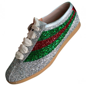 Gucci Falacer Silver Glitter Trainers