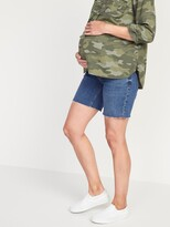 Thumbnail for your product : Old Navy Maternity Full Panel Relaxed Cut-Off Jean Shorts -- 7-inch inseam