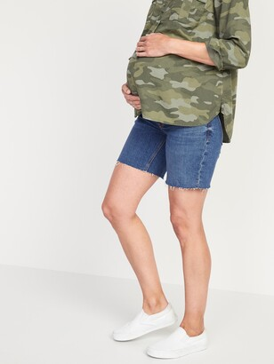 Old Navy Maternity Full Panel Relaxed Cut-Off Jean Shorts -- 7-inch inseam
