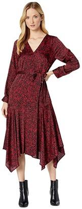 Vince Camuto Long Sleeve Asymmetrical Hem Drifting Petals Belted Dress (Tulip Red) Women's Dress