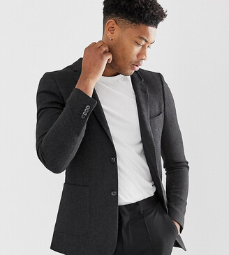 Asos Design DESIGN Tall skinny blazer in charcoal wool mix-Gray