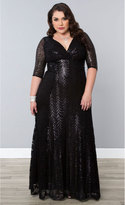 Kiyonna Plus Size Black Scallop Sequin Grand Gatsby Half Sleeve Gown