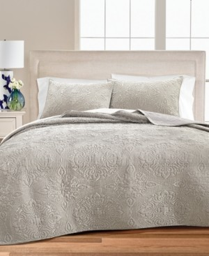 Martha Stewart Collection Medallion Tufted Velvet Twin/Twin Xl Quilt, Created for Macy's