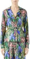 Gucci Feline Garden Silk Twill Blouse