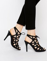 Warehouse Lace Up Caged Heeled Sandals