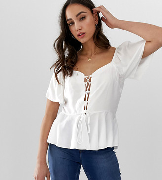 Asos DESIGN Tall tea blouse with lace up front detail