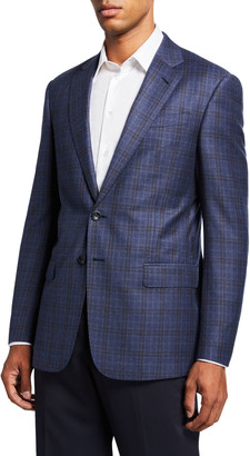 Giorgio Armani Men's Two-Tone Windowpane Plaid Two-Button Jacket