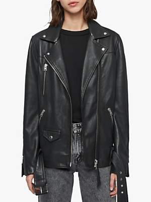 AllSaints Eline Oversized Leather Biker Jacket, Black