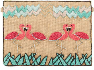 Flamingos Area Stars Beaded Zip-Top Clutch Bag