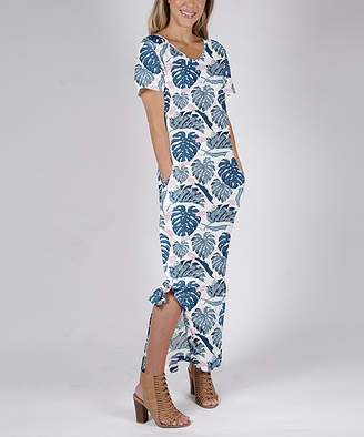 Beyond This Plane Women's Maxi Dresses BLU - Blue & Pink Foliage Side-Slit Pocket Maxi Dress - Women & Plus