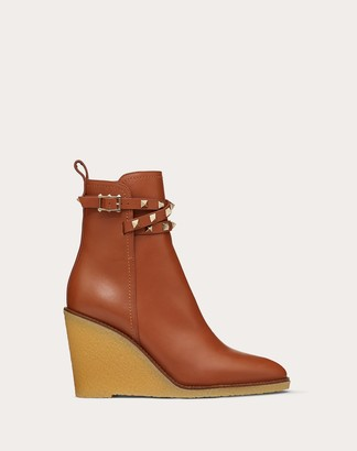 Valentino Rockstud Calfskin Wedge Ankle Boot 90 Mm Women Saddle Brown 100% Pelle Di Vitello - Bos Taurus 37