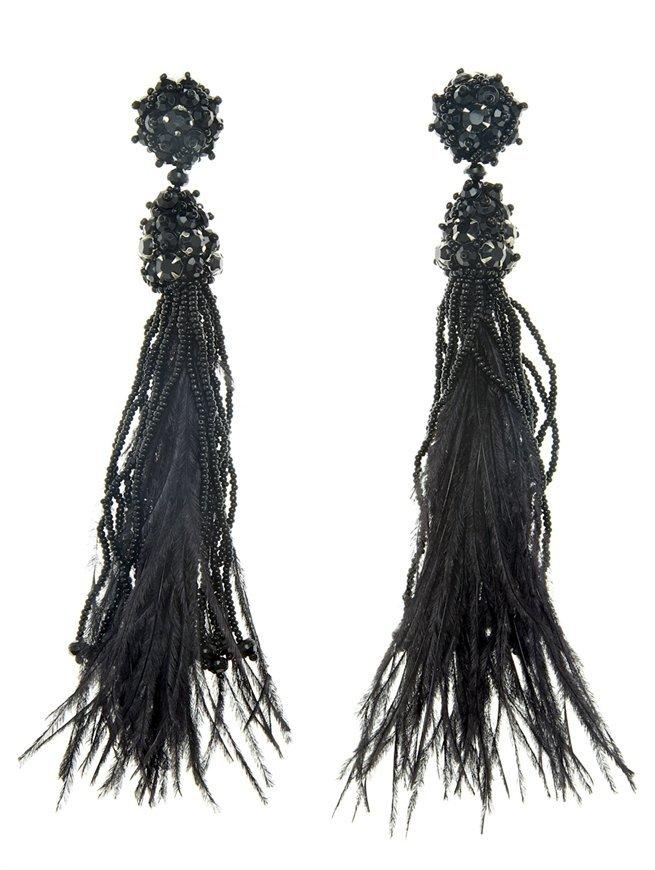 Oscar de la Renta Long Tassel Feathered Earring